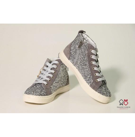 Sneakers alta glitter argento