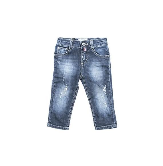 Jeans regular con rotture e bandana
