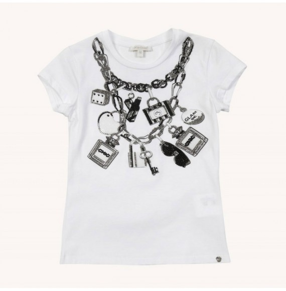 1bc5aad2b580fe T-shirt with print and rhinestone