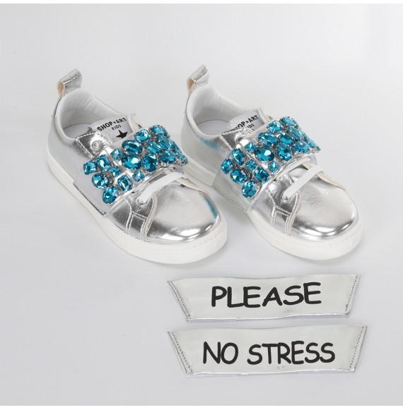 SHOPART -Sneakers bassa con fascia staccabile pietre e stampa