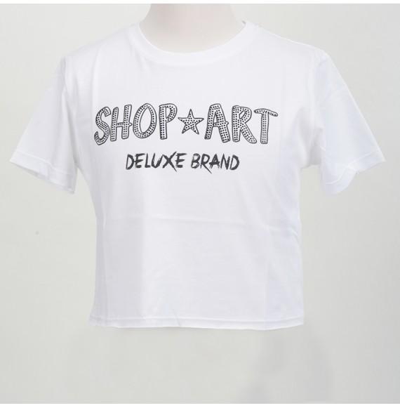 SHOPART - T-shirt corta in jersey con stampa e Svarowski