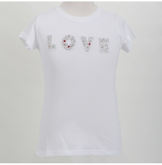 SHOPART - T-shirt jersey con applicazioni LOVE