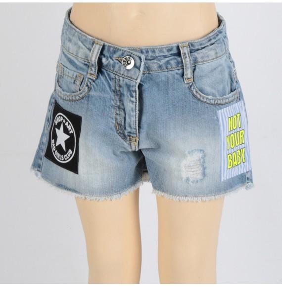 SHOPART - Short in jeans con applicazioni