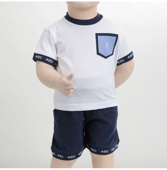CESARE PACIOTTI - Completo due pezzi in cotone bermuda e shirt con taschino