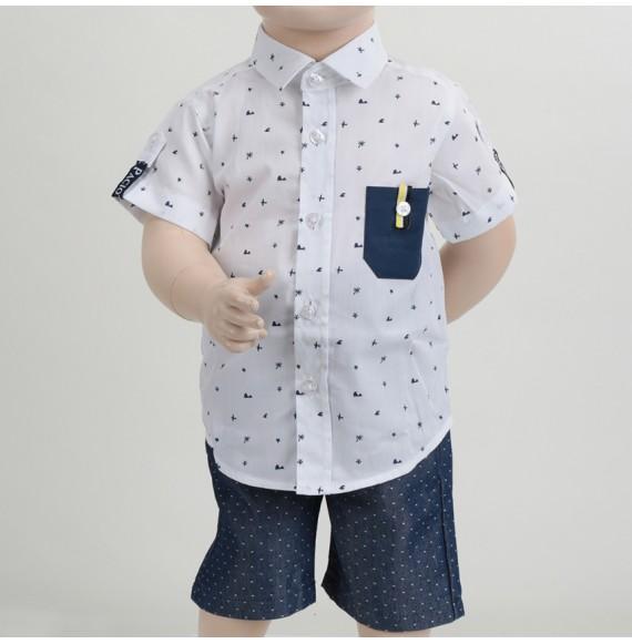 CESARE PACIOTTI - Camicia fantasia mezza manica con taschino blu