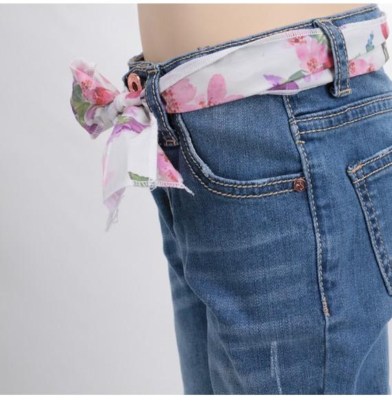 MY CLOSET- Jeans con cintura floreale