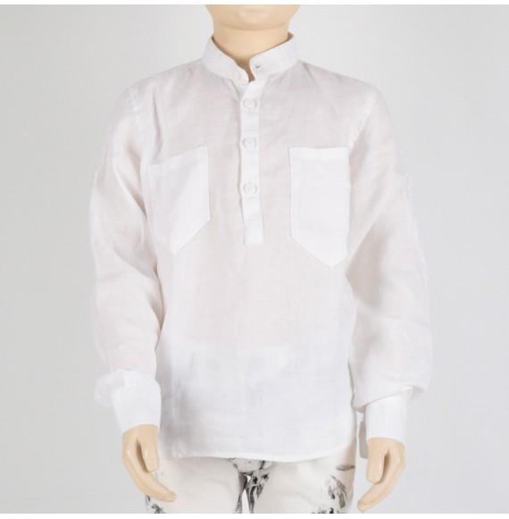 MADD - Camicia in lino con taschini e collo coreana