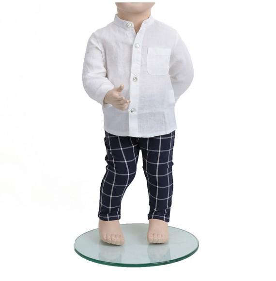 J.O. Milano - Completo 3 pezzi pantaloni a quadri,camicia in lino e gilet in filo