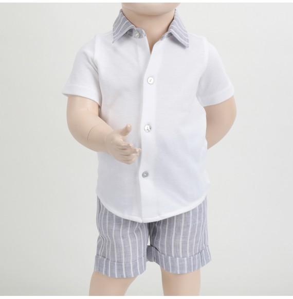 J.O. Milano - Completo polo con collo camicia e bermuda in lino gessato