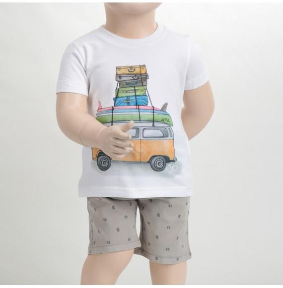 J.O. Milano - Completo berrmuda fantasia e t-shirt con stampa