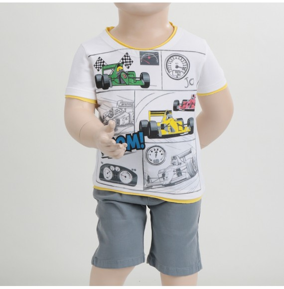 J.O. Milano - Completo t-shirt con stampa e bermuda tinta unita