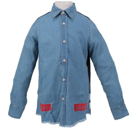PYREX - Camicia in jeans con rete e stampa