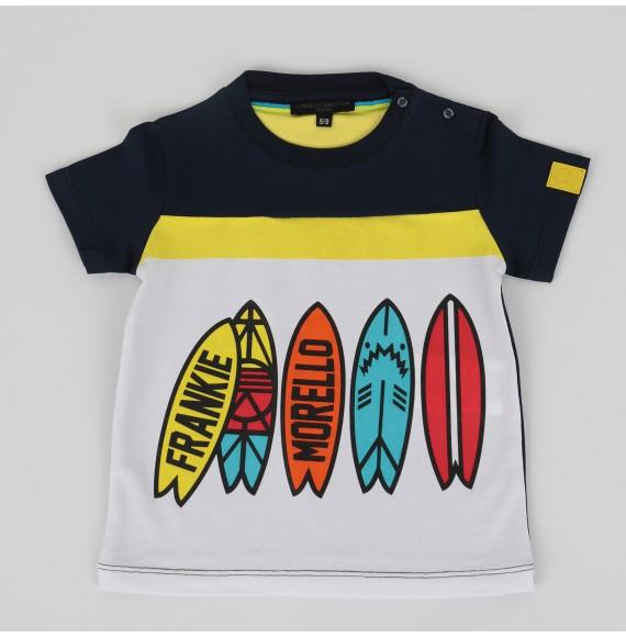 FRANKIE MORELLO - T-shirt bicolore con stampa