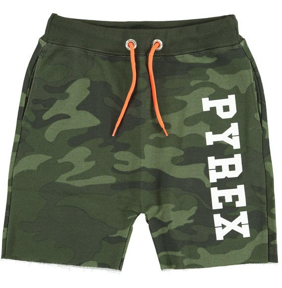 PYREX - Bermuda in felpa camouflage con stampa