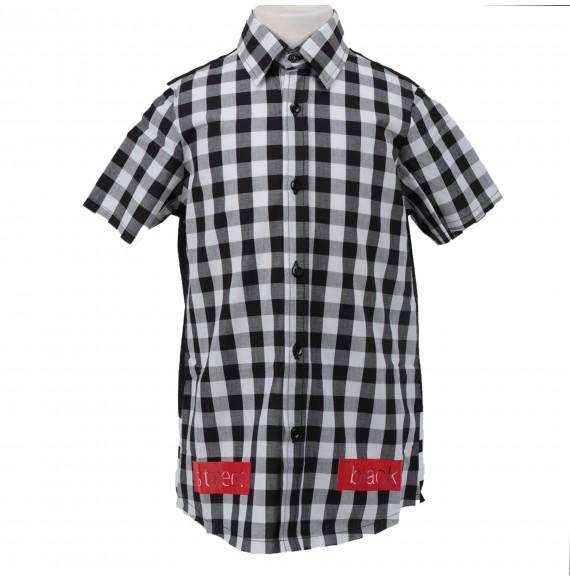 PYREX - Camicia a quadri con rete e stampa