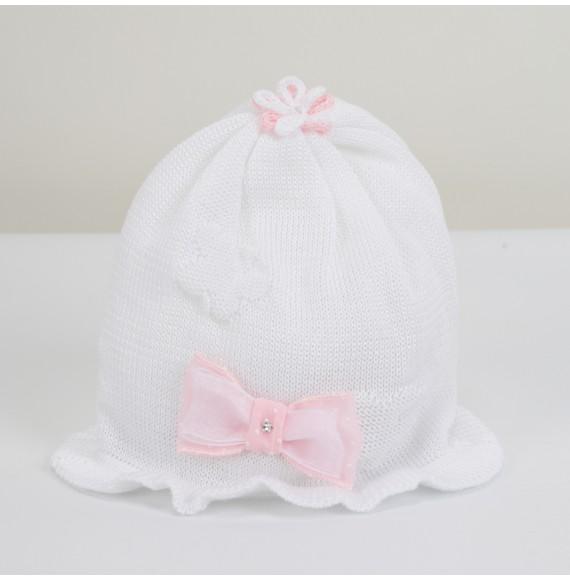 AURORA - Cappellino in filo con fiocco