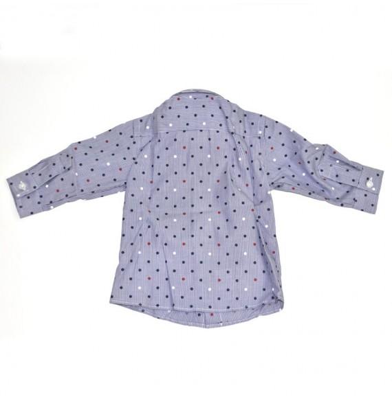 Camicia fantasia con pois manica lunga