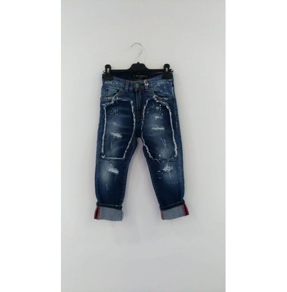 YES LONDON - Jeans multilavaggio con strappi e pittura