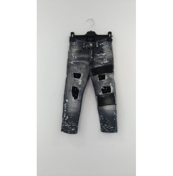 YES LONDON - Jeans multilavaggio con toppe e pittura