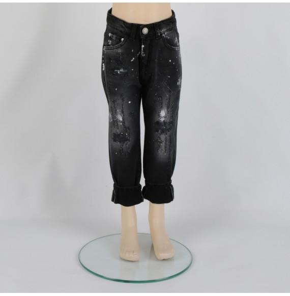 Jeans con strappi e pittura multicolor