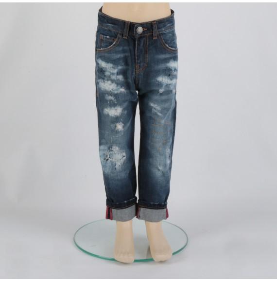Jeans multilavaggio con impunture