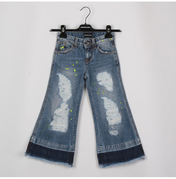 MARCO BOLOGNA - Jeans a zampa con strappi e pittura