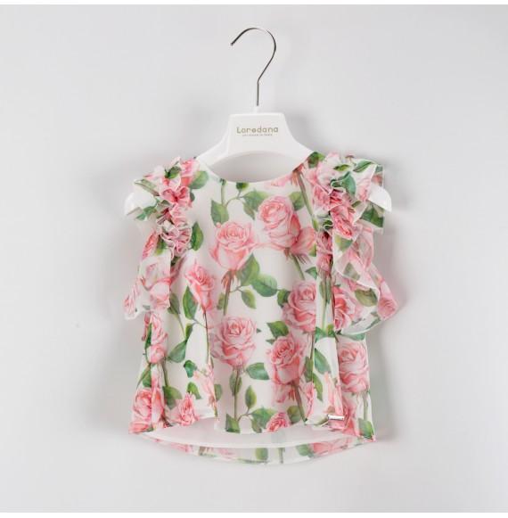 LOREDANA - Completo gonna a righe con casacca fantasia floreale