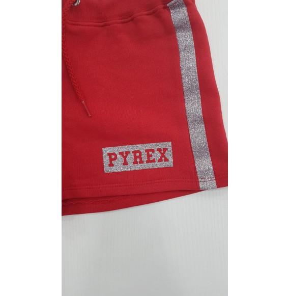 PYREX - Short in felpa con stampa glitter