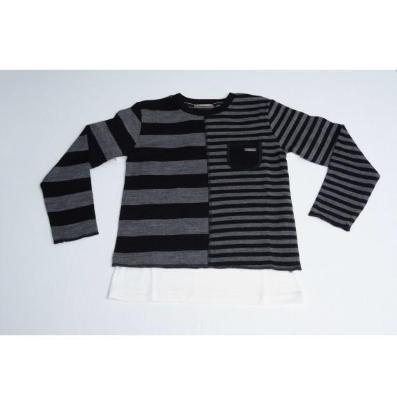 FRED MELLO - Set pullover girocollo rigato e t-shirt con taschino