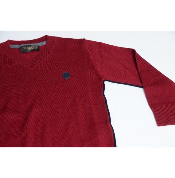 TRUSSARDI - Pullover in lana con profili a contrasto