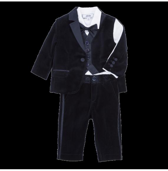 Aletta - Completo 5 pezzi in velluto con giacca e gilet