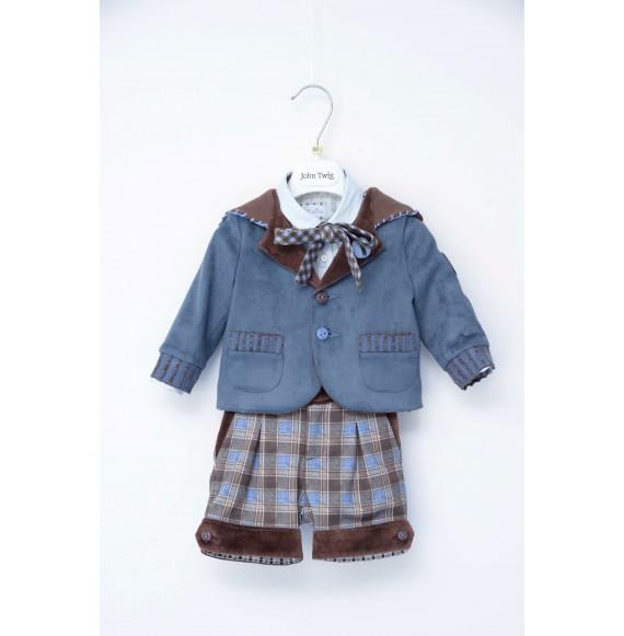 JOHN TWIG - Completo 3 pezzi bermuda con bretelle,camicia macaron e giacca con cappuccio
