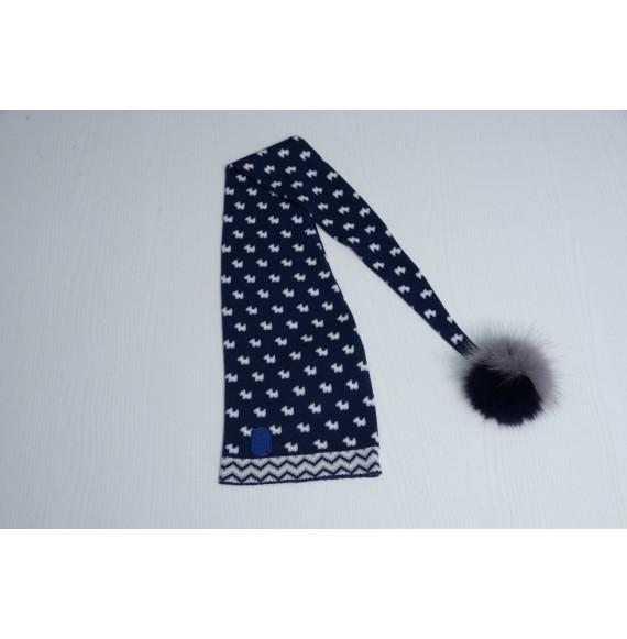 JOHN TWIG - Cappello in lana fantasia con pon pon bicolore