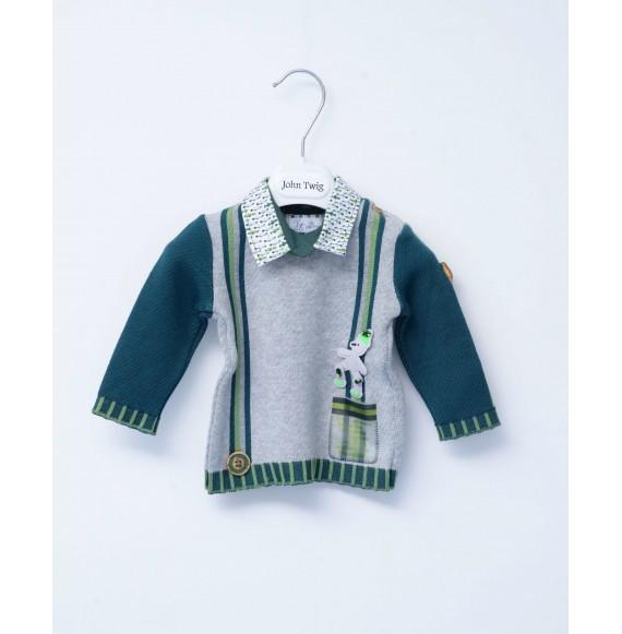 JOHN TWIG - Pullover con applicazioni e finta camicia