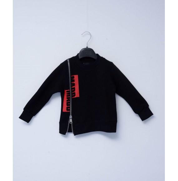MADD - Felpa girocollo con stampa e zip