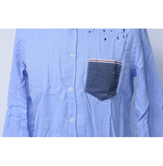 BERNA - Camicia puntinata con taschino in jeans
