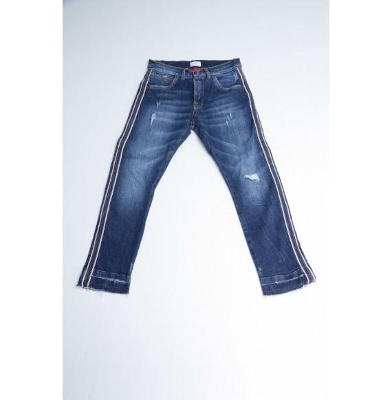 BERNA - Jeans con rotture e bande larerali