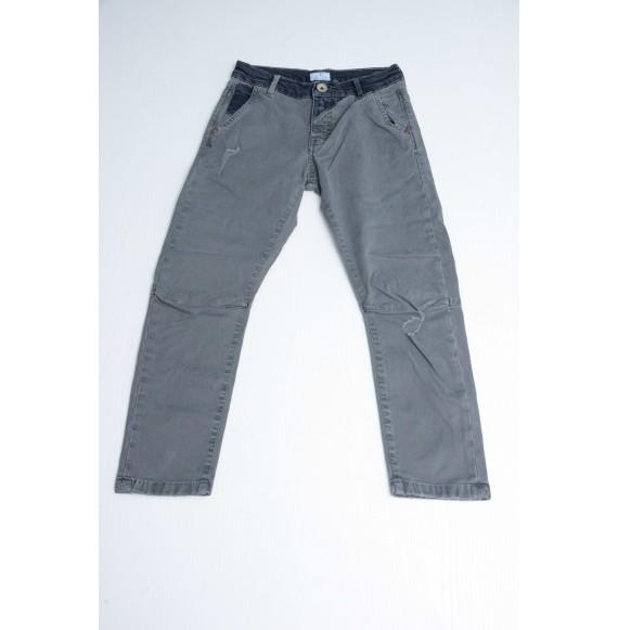BERNA - Pantalone con rotture ed inserti in jeans