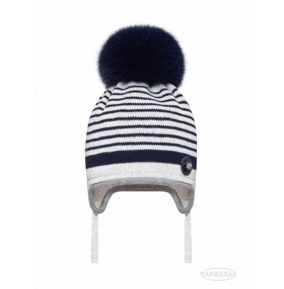 BARBARAS - Cappello in lana a righe con pon pon in pelliccia