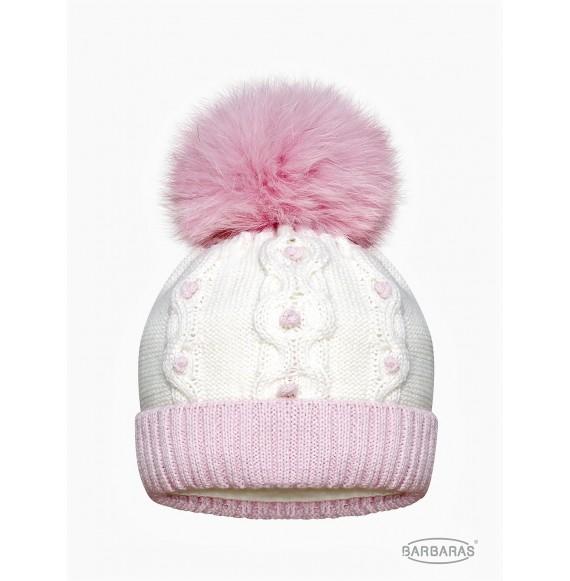 BARBARAS - Cappello in lana bicolore con pon pon in pelliccia