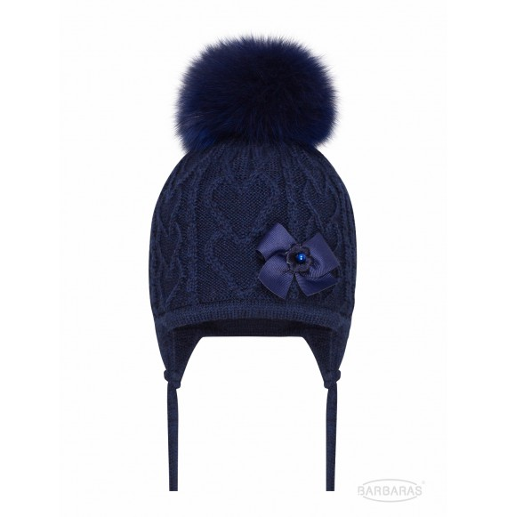 BARBARAS - Cappello in lana con fiocco e pon pon in pelliccia