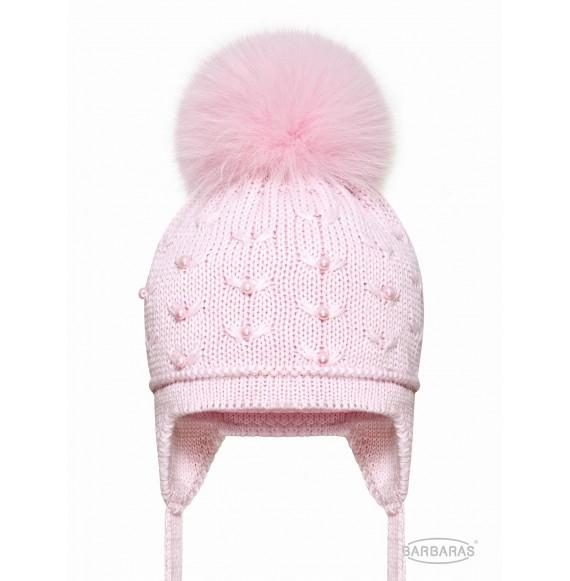 BARBARAS - Cappello in lana con perline pon pon in pelliccia