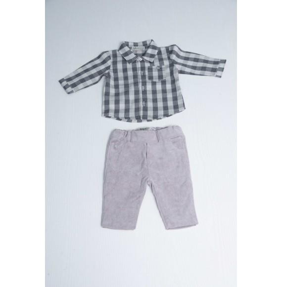 A & J - Set camicia a quadri e pantalone in velluto