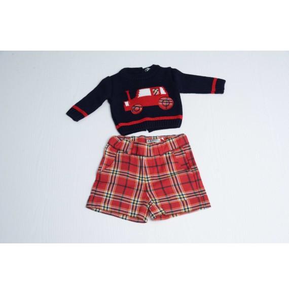 A & J - Set pullover girocollo e bermuda scozzese