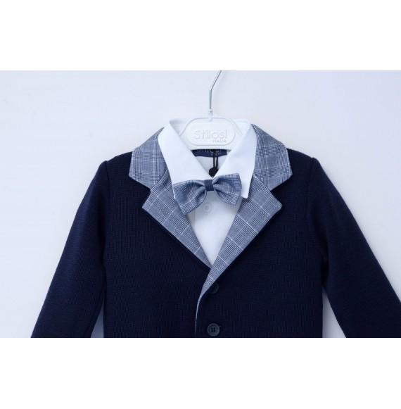 STILOSI - Completo 4 pezzi con giacca in maglia e pantalone scozzese