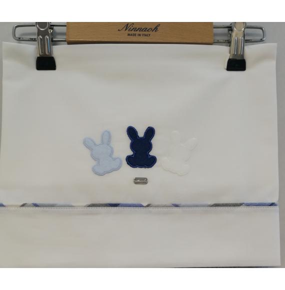 NINNAOH - Lenzuolino per carrozzino 3 pezzi con coniglietti