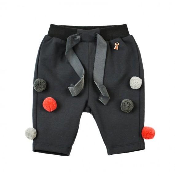 MY CLOSET- Pantalone in felpa con pon pon