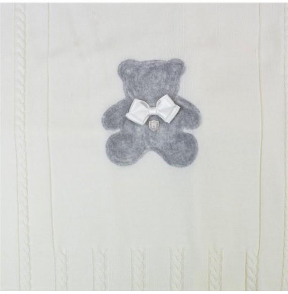 PIGNATELLI - Copertina scialle in lana con orsetto