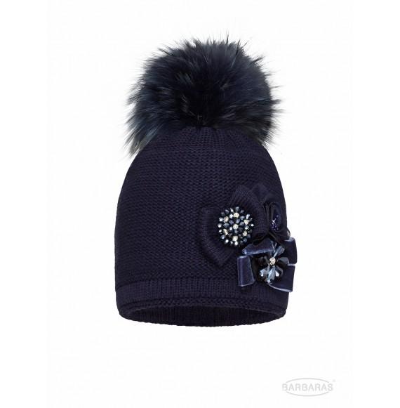 BARBARAS - Cappello in lana con pietre e pon pon in pelliccia