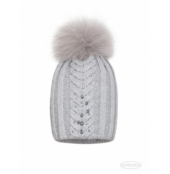 BARBARAS - Cappello in lana con Swarovski e pon pon in pelliccia